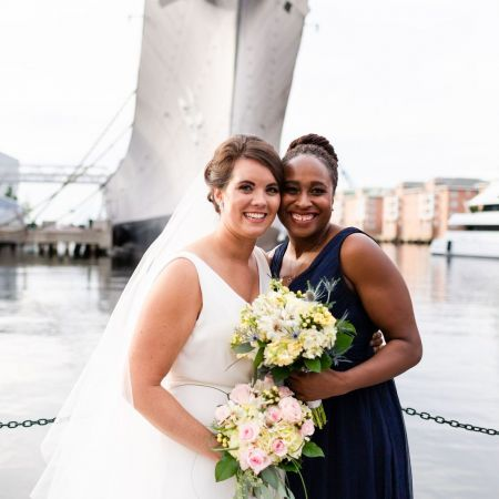 Bride and Bridesmaid, Blush and Ivory