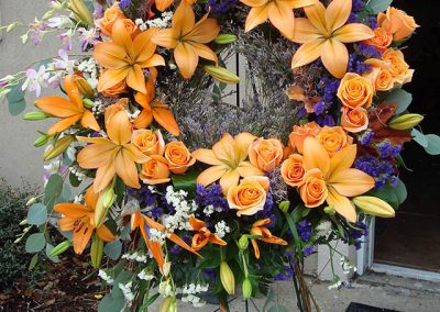 Spray Orange Lilies and Roses