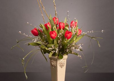 Ceramic Vase with red tulips