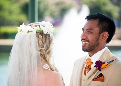 Orchid Halo and Tropical Boutonniere